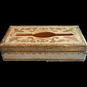 Italian Gesso Wood Tissue Box Vintage Florentine TLC Midcentury Italy