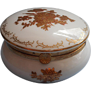 Andrea By Sadek Vintage Hinged China Trinket Box Gold White Ormolu