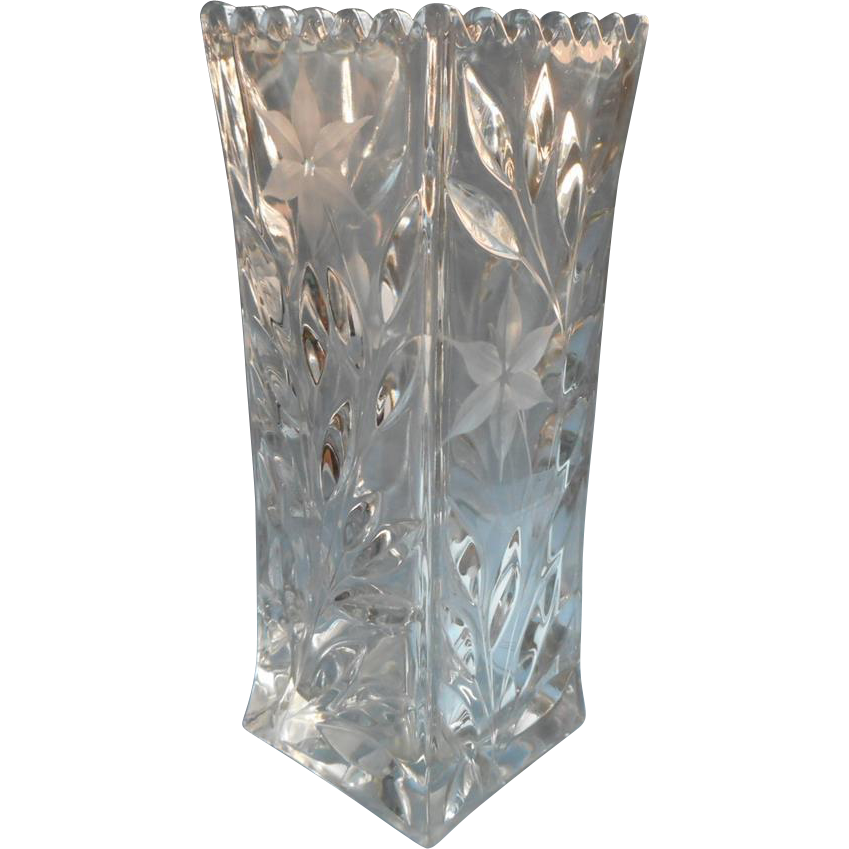 Antique Cut Glass Square Tall Vase Abp From Mercymaude On Ruby Lane