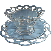 Crocheted Crystal Imperial Glass Sauce Bowl Under Plate Set