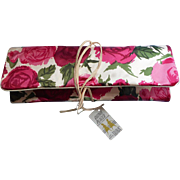 c1960 Travel Case Roll Roses Satin Cosmetics Accessories Vintage  Unused Original Tag