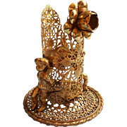 Cherubs Filigree Vintage Vanity Vase Holder Base Ornate Metal