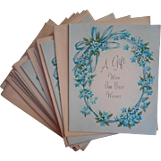 Vintage Gift Cards 1960s Turquoise Blue Forget Me Nots Ribbons