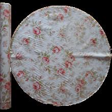 Antique 1910s Doily Set Linen Storage Roll Watered Silk Print Cotton