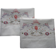 1920s Pillowcases Hand Embroidery Vintage Unused Pair Cotton