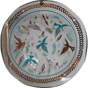 Georges Briard Turquoise Aqua Gold Vintage MCM Glass Doves Birds Dish