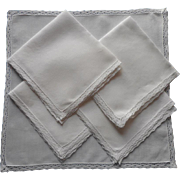 1920s Linen Lace Napkins 5 Very Simple Luncheon