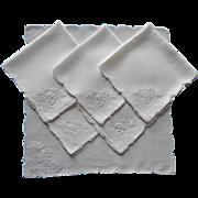1920s Tea Napkins Hand Embroidered Linen Vintage Mosaic Work TLC
