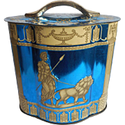 English Candy Tin Vintage Electric Blue Hellenic Greek Figures