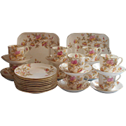 Dessert Service Victorian Antique China Set Cups Saucers Plates Serving Hand Painted Pink Aqua Yellow
