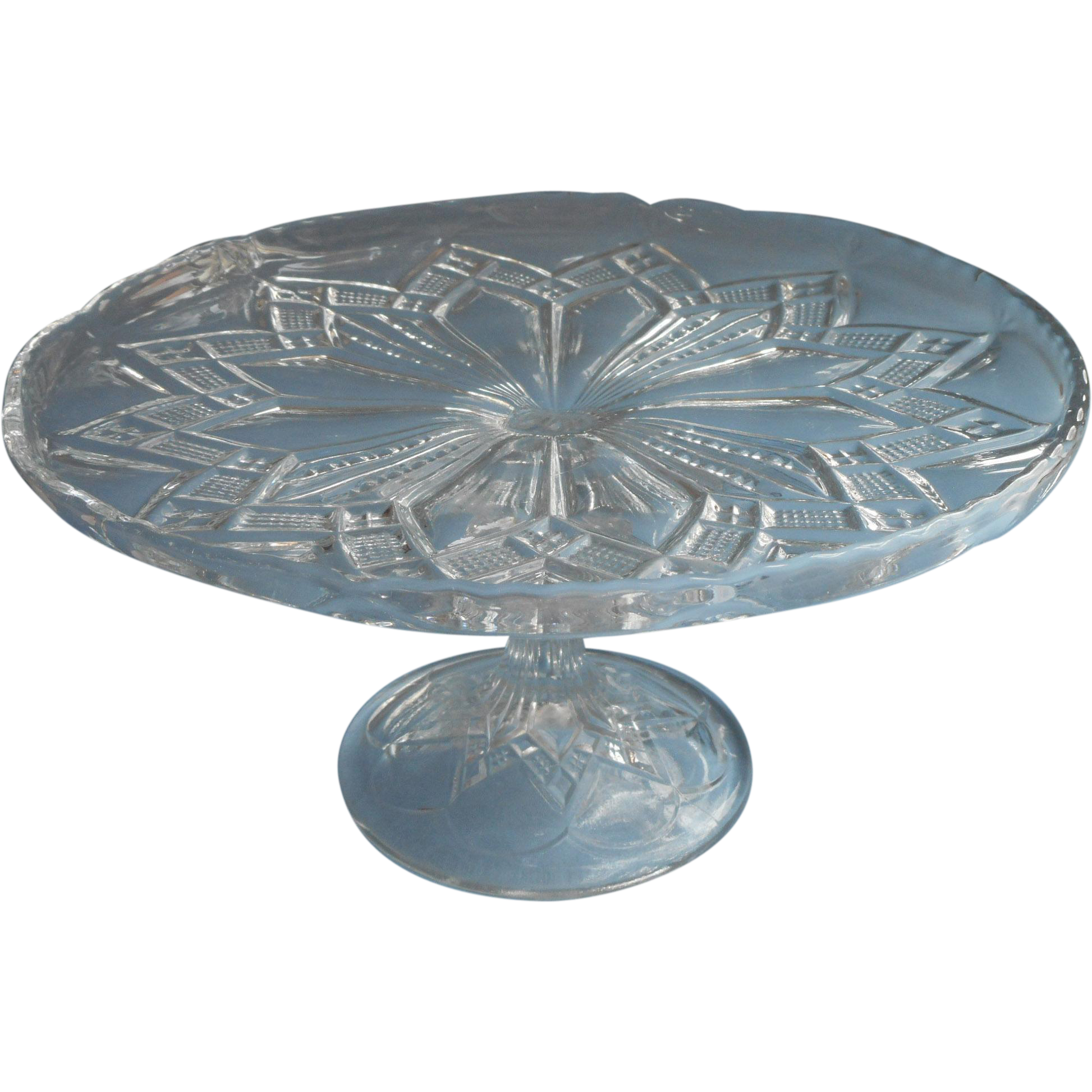 Pressed Glass Cake Stand For Sale