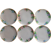 1920s Hand Painted China Vintage Set 6 Luncheon Plates Flowers