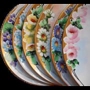 1920s Hand Painted China Vintage Set 6 Dessert Plates Flowers