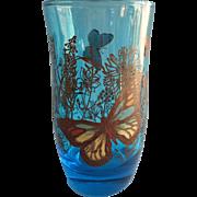 Anchor Hocking Butterflies Butterfly Glass Vintage Tumbler Capri Blue
