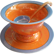 1920s Luster Sauce Bowl Under Plate Ladle Blue Japan Vintage China Mayonnaise