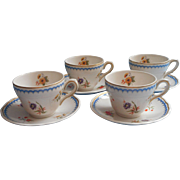 Lowestoft Wedgwood Vintage China 4 Cups Saucers