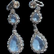 Juliana Earrings Vintage Extra Long Dangle Clip Rhinestone Crystal