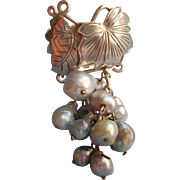 Vintage 1960s Japan Silver Freshwater Pearls Dangle Cluster Ring Pearl