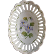 Andrea by Sadek Vintage Reticulated China Ring Dish Violets Dots