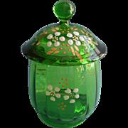 Ca 1900 Glass Sugar Bowl Lid EAPG Beaumont Inside Ribbing Green Enameled