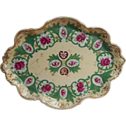Nippon Perfume Vanity Tray Antique China Hand Painted Green Magenta TLC