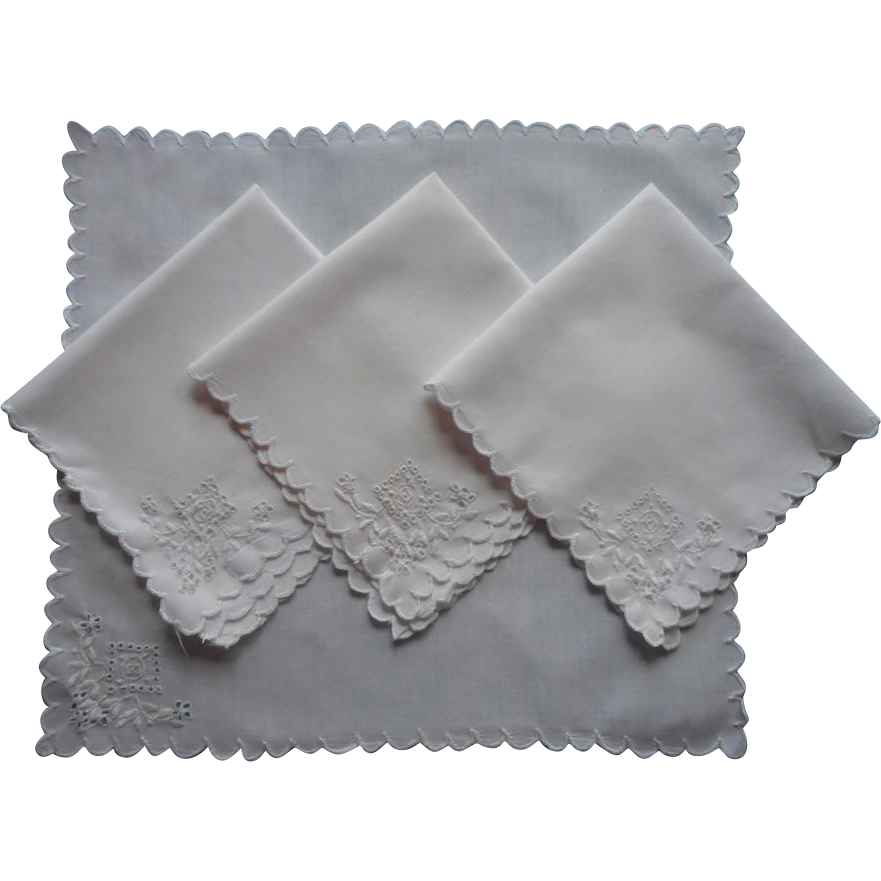 Tea Napkins Antique 1910s Hand Embroidery Cutwork Cotton