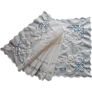Drawnwork Runner Antique 1910s Hand Embroidery Cotton All White