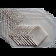Madeira Placemats Napkins Set Vintage Linen Cutwork Embroidery Ecru