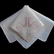 Monogram H Madeira Hankie Unused Linen Pink Vintage Original Label