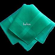 Helen Vintage Hankie Unused Green Cotton