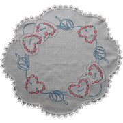 Hearts Bows Hand Embroidery Vintage linen Centerpiece Lace Trim