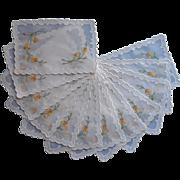 Madeira Cocktail Napkins Vintage Set 12 Organdy Linen Hand Embroidery