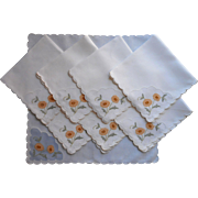Madeira Luncheon Napkins Vintage Set 8 Organdy Linen Hand Embroidery