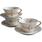Theodore Haviland Limoges 3 Cups Saucers Antique China French Pink Flowers Flared