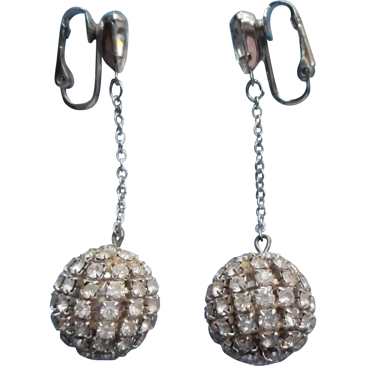 vintage 1960s mod rhinestone earrings dangle disco