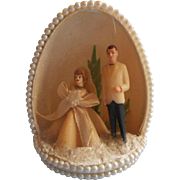 Duck Egg Wedding Diorama Vintage 1960s Cake Topper Couple