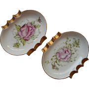 Pink Roses Hand Painted Vintage China 1950s Ashtrays Signed