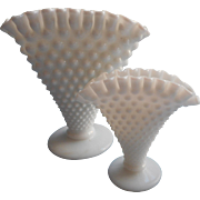 Fenton Milk Glass Fan Vases Vase Vintage Hobnail Crimped Rim Ruffled