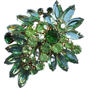 Big Weiss Green Rhinestone Pin Brooch Vintage 3 Shades Of Green
