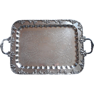 Silver Tray Grapes Vintage Serving or Tea Set Handles On Copper