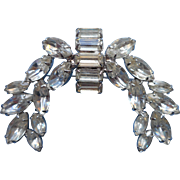 Rhinestone Vintage Pin Brooch Large Laurels Swag Effect