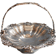 Victorian Silver On Copper Basket Bride's Antique Ornate Fruit Cake