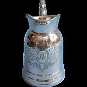Antique Silver Hot Milk Jug Pitcher Strickland Monogram J C G Hotel Albany