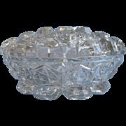 Vanity Jar Vintage Pressed Glass Heavy Daisy Button Lid Powder Box