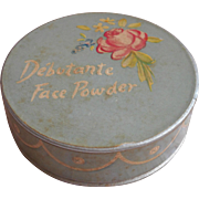 Debutante Face Powder Box Vintage Vanity Pink Rose Blue