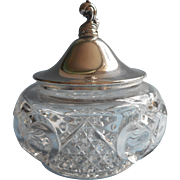 Vanity Jar Silver Pressed Glass Vintage Heart Hearts Motifs