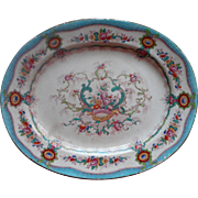 Antique English Platter Cauldon China Aqua Pink Multi Shabby Elegant