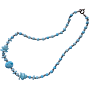 1920 to 1930s Necklace Glass Beads Turquoise Blue Vintage Wavy Flowers