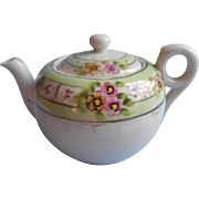 1920s Japan Teapot Hand Painted China Green Pink White Flowers