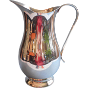 Silver Water Pitcher Vintage Tall Sleek Simple